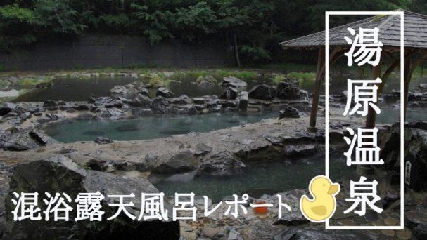 湯原温泉砂湯混浴露天風呂の風景